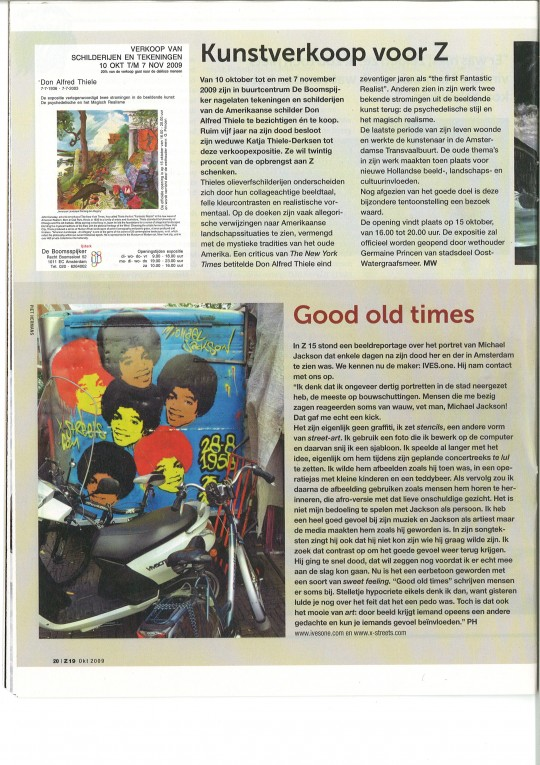 "MJ article ""Z"" magazine. Street newspaper, Amsterdam"